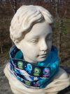 Loop in türkis aus Baumwollsweat mit gemustertem Einsatz, zum 2x Herumwickeln, 18€, 108x 17cm, Artikelbezeichnung: Löwen Loop